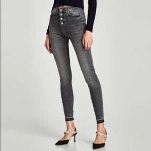 Zara NWT the high waist button fly in grey